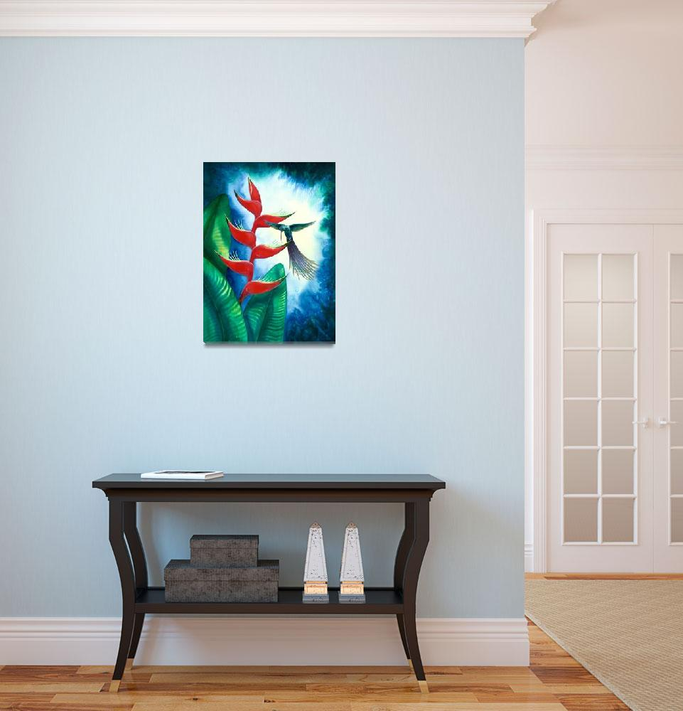 """""""Hummingbird and Heliconia Watercolor""""  by savanna"""