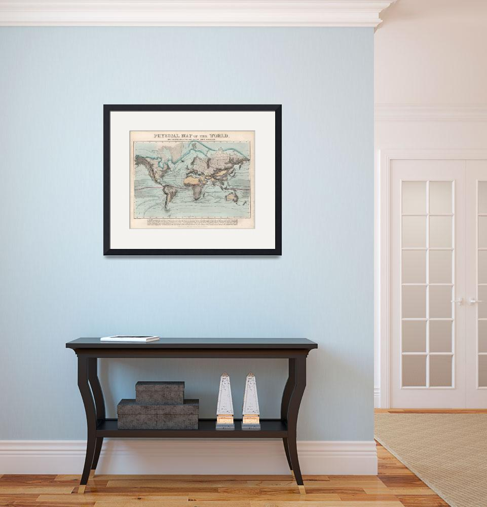 """Vintage Physical Map of The World (1849)""  by Alleycatshirts"