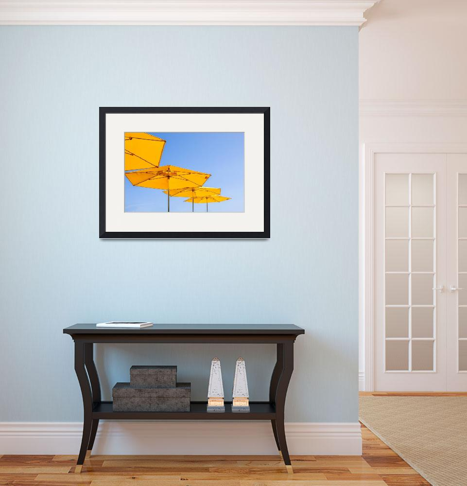 """""""yellow sunshades and bright blue sky&quot  by cisfo"""