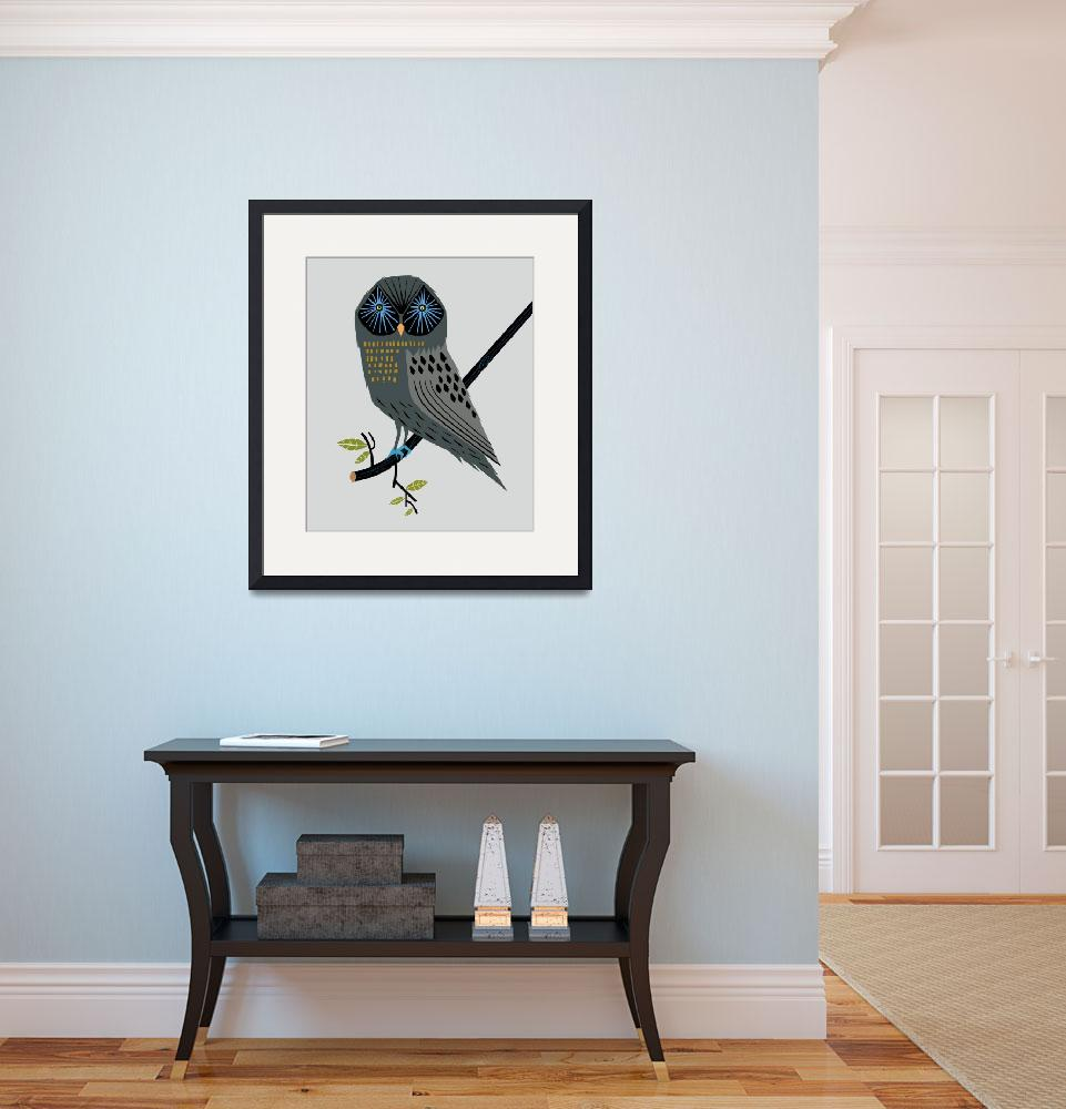 """The Perching Owl - Limited Edition Print&quot  (2010) by iotaillustration"