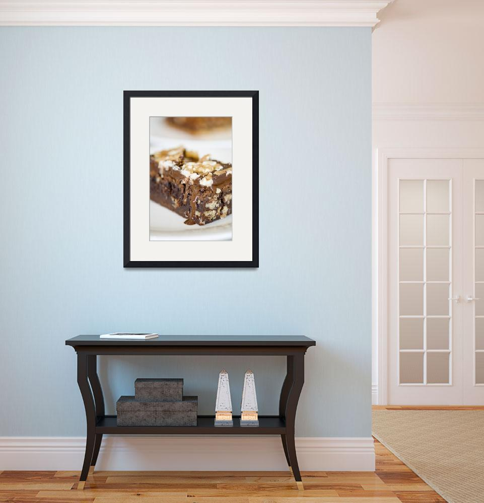 """""""Walnut brownie on a white plate&quot  by 3523studio"""
