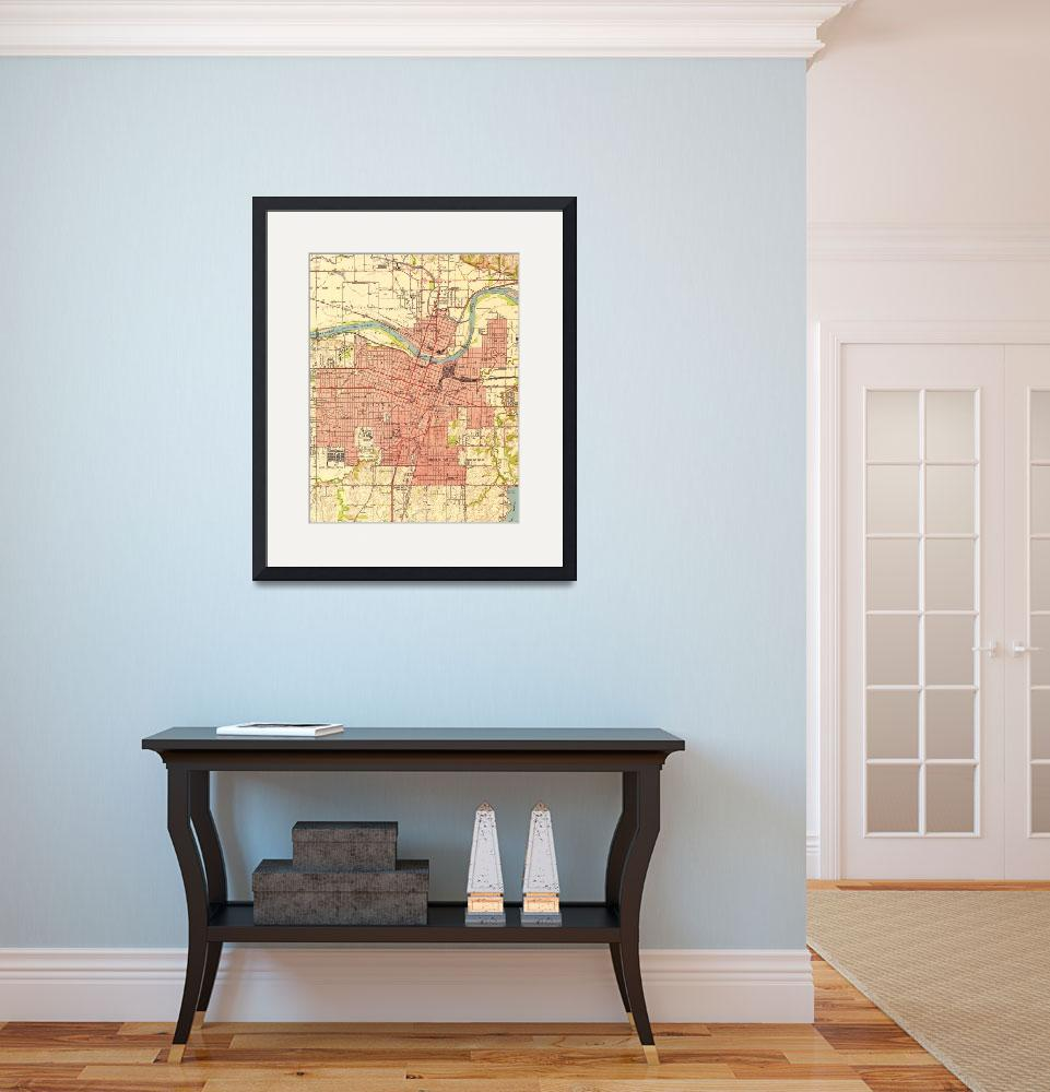 """""""Vintage Map of Topeka Kansas (1951)&quot  by Alleycatshirts"""