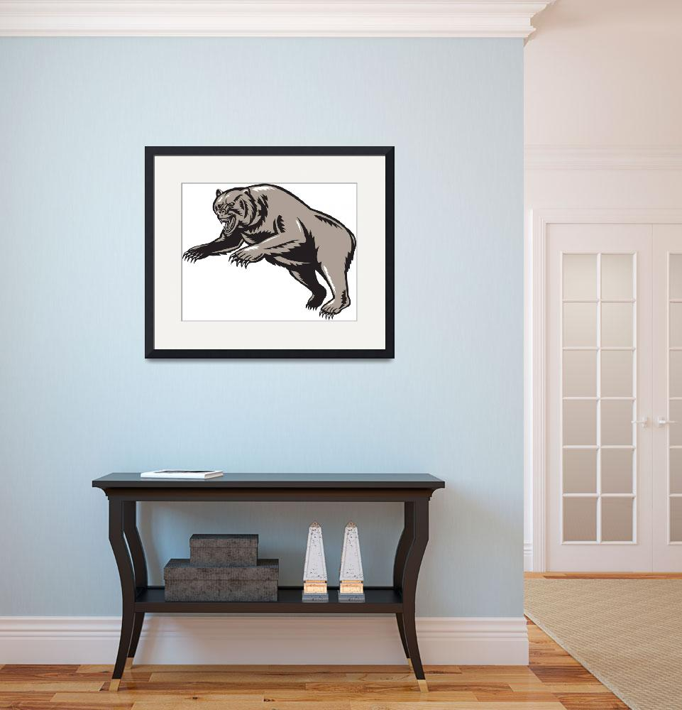 """""""grizzly bear attacking woodcut style&quot  (2013) by patrimonio"""