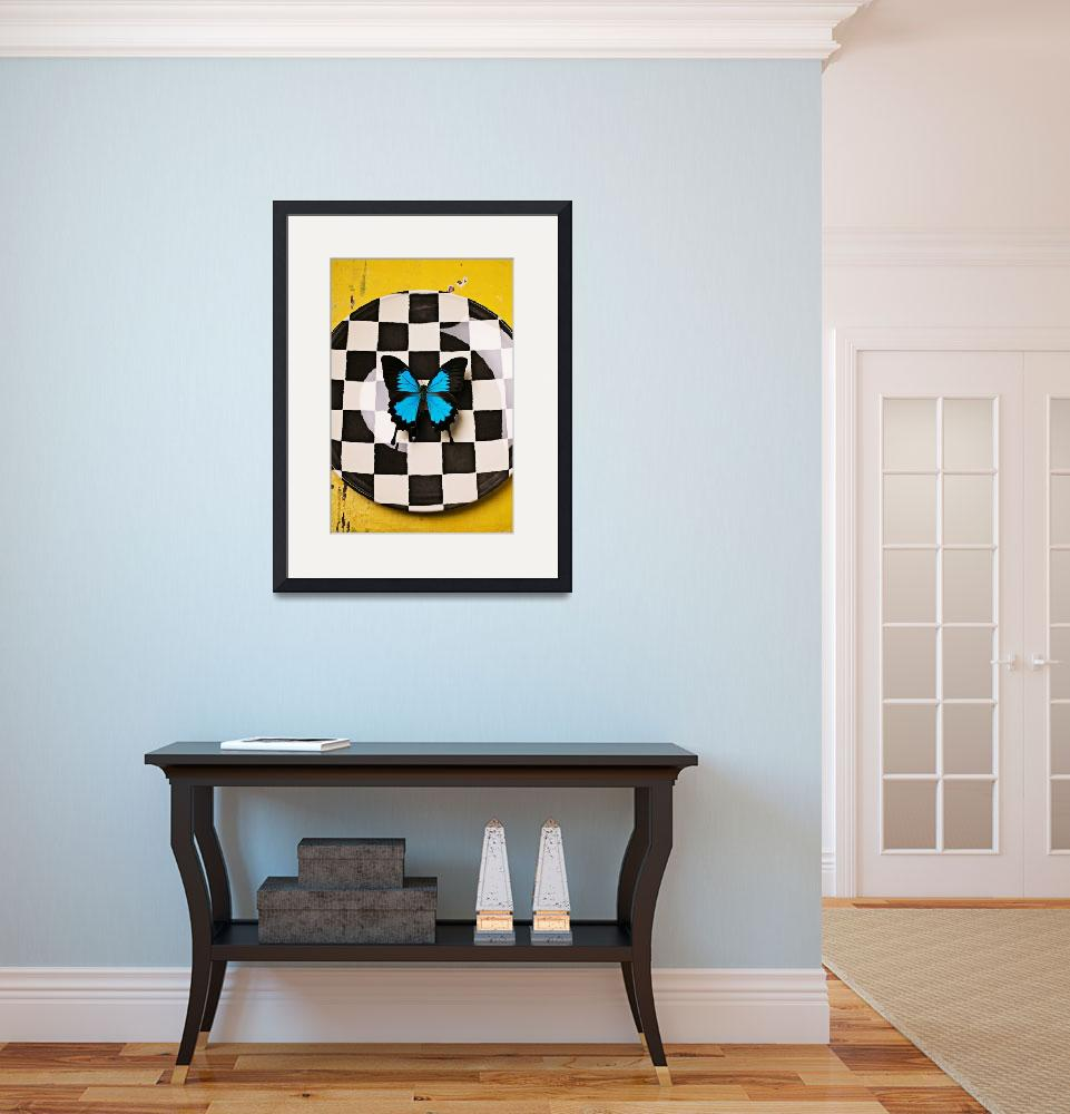 """""""Checker plate and blue butterfly""""  (2012) by photogarry"""