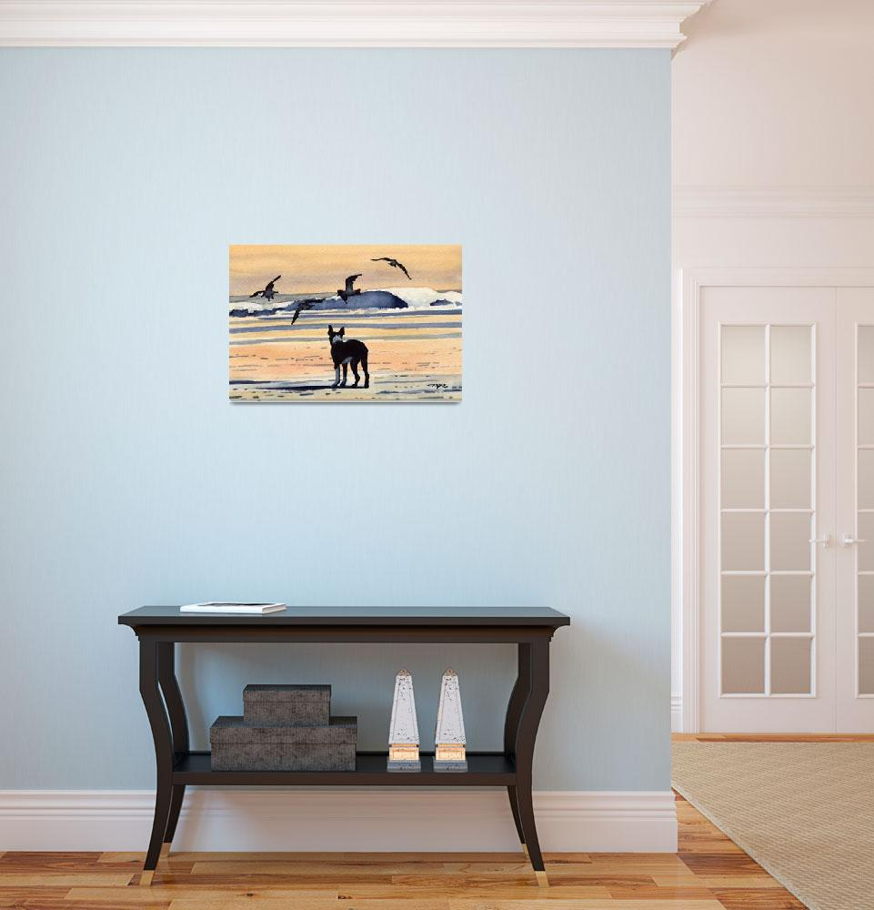 """""""Boston Terrier Sunset at the Beach""""  (2015) by k9artgallery"""