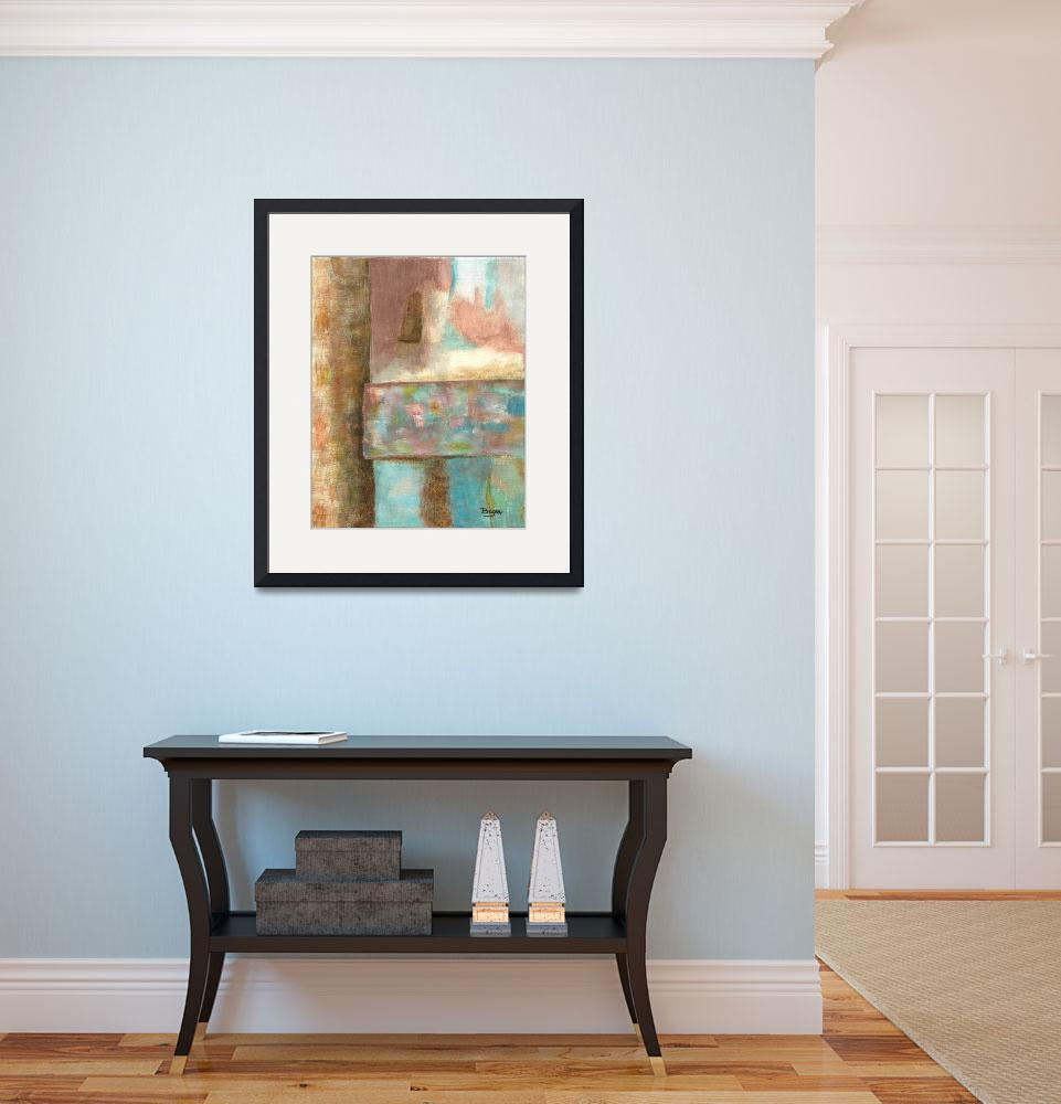 """Abstract Art Painting Castle Tower Pink Aqua Blue&quot  (2007) by Itaya"