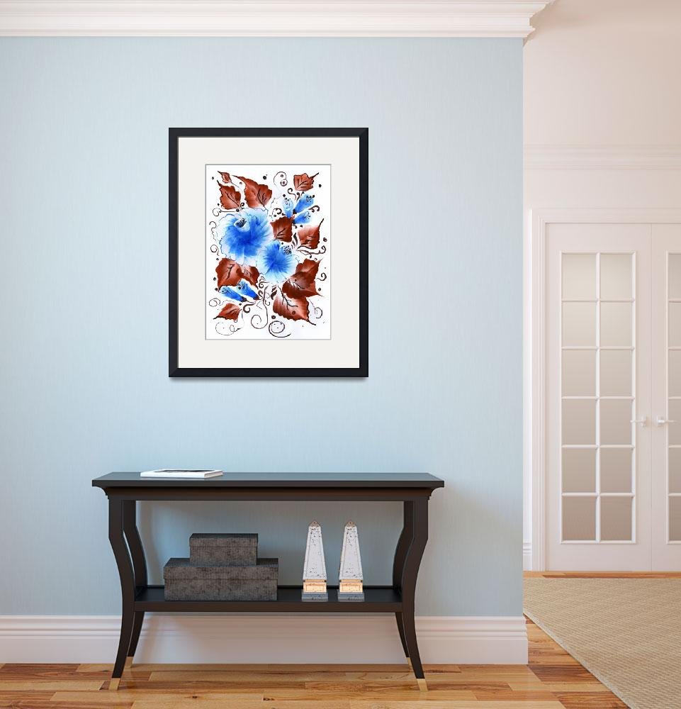 """""""Blue flowers and brown leafs winter bouquet&quot  (2013) by LongaBreviss"""