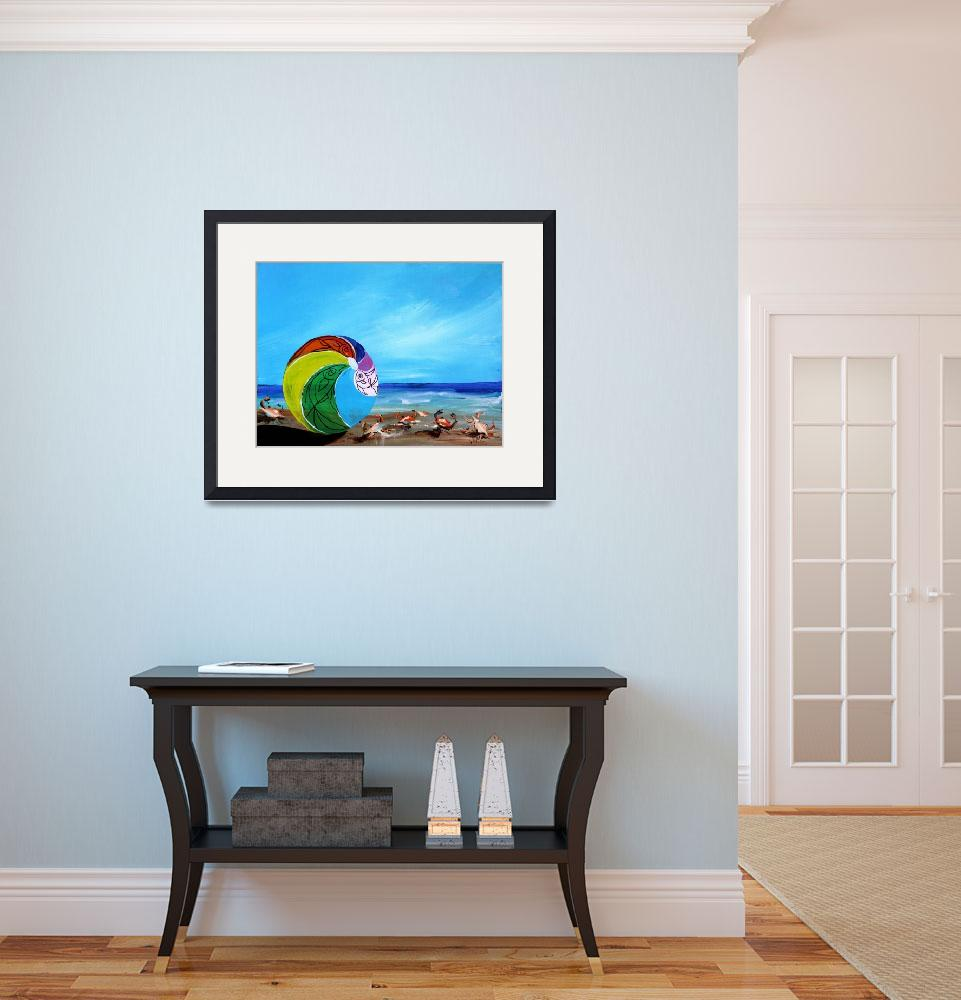 """""""Beach Scene with Beach Ball and Crabs&quot  (2014) by scarpace"""