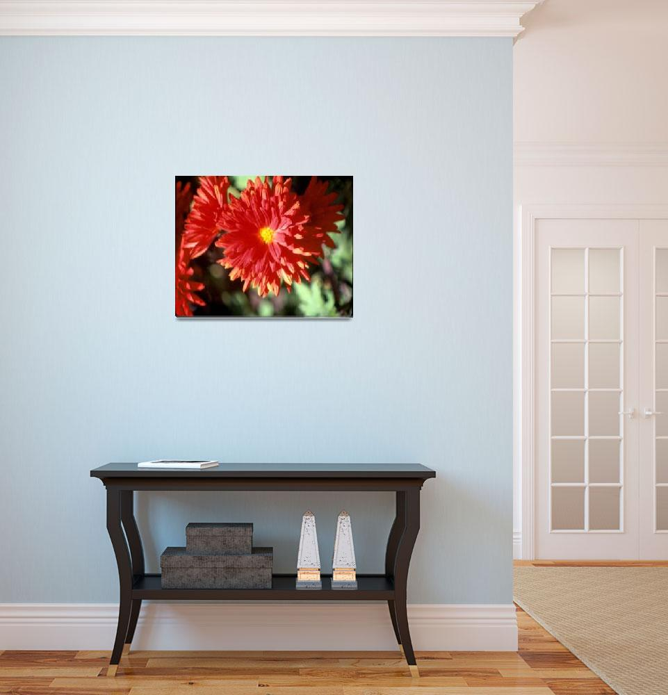 """""""Red Flower Yellow Center&quot  by memoriesoflove"""