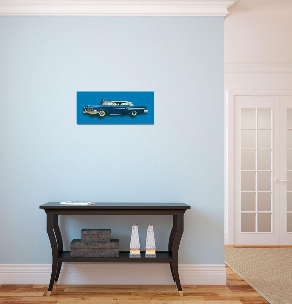 """Edsel Citation Car Advertisement Sedan Blue&quot  (2015) by RubinoFineArt"
