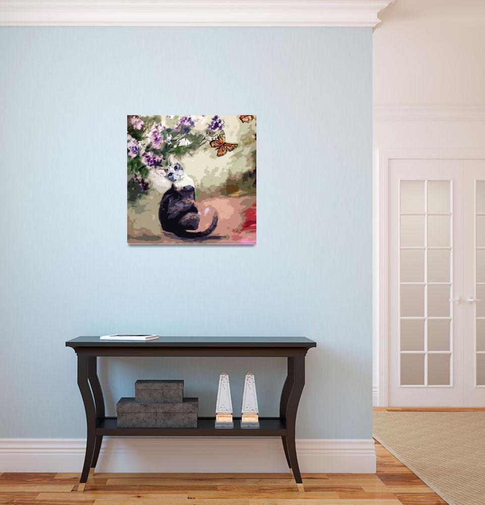 """Modern Cat Art Mixed Media P2""  (2014) by GinetteCallaway"