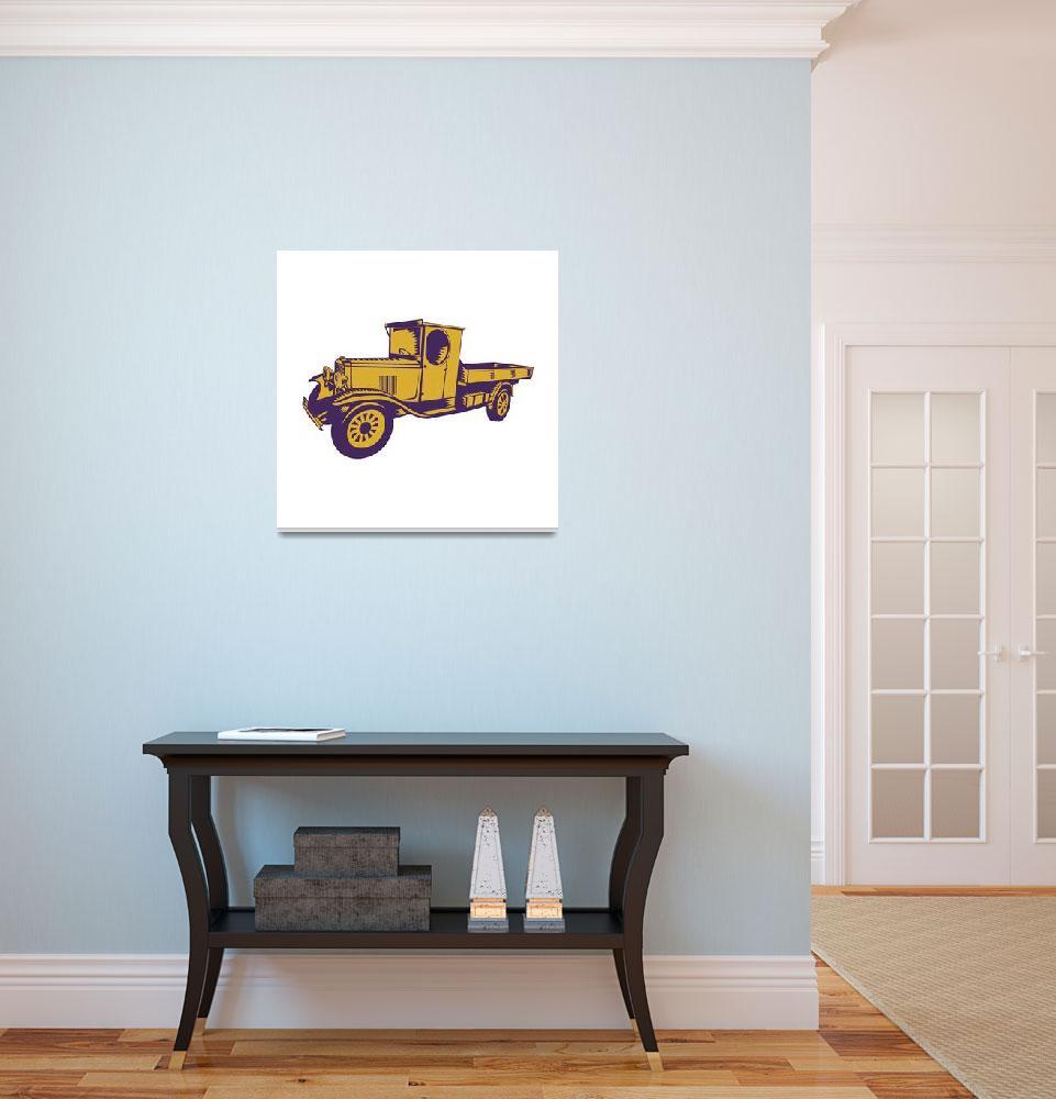 """1920s Pick-up Truck Woodcut""  (2015) by patrimonio"