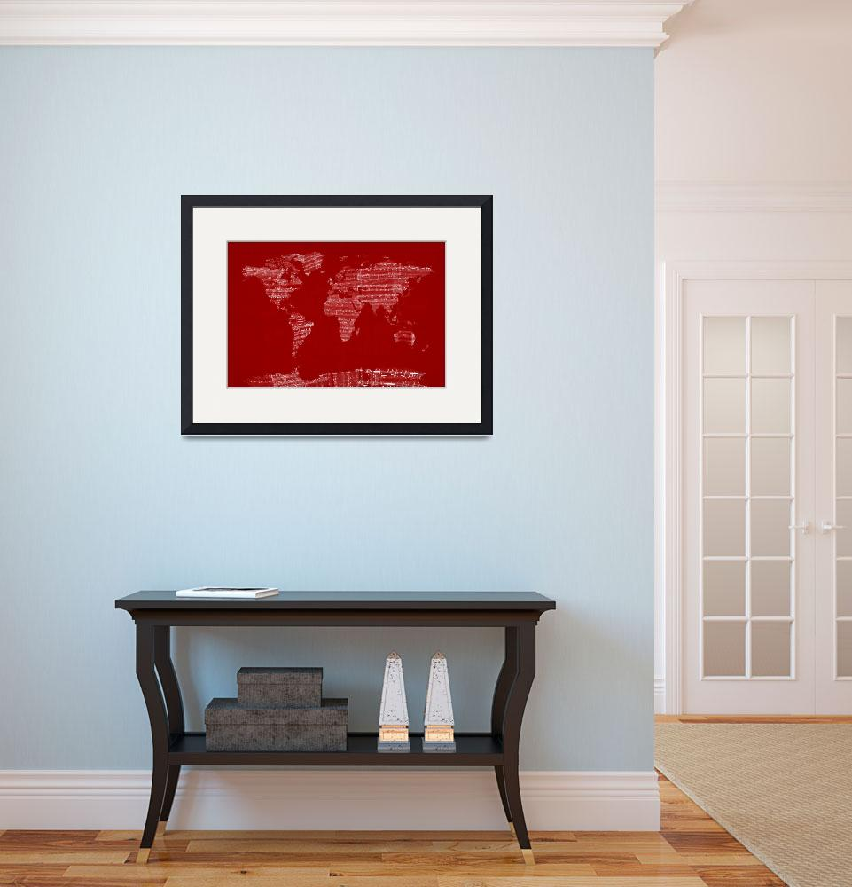 """World Map Sheet Music Red""  (2012) by ModernArtPrints"