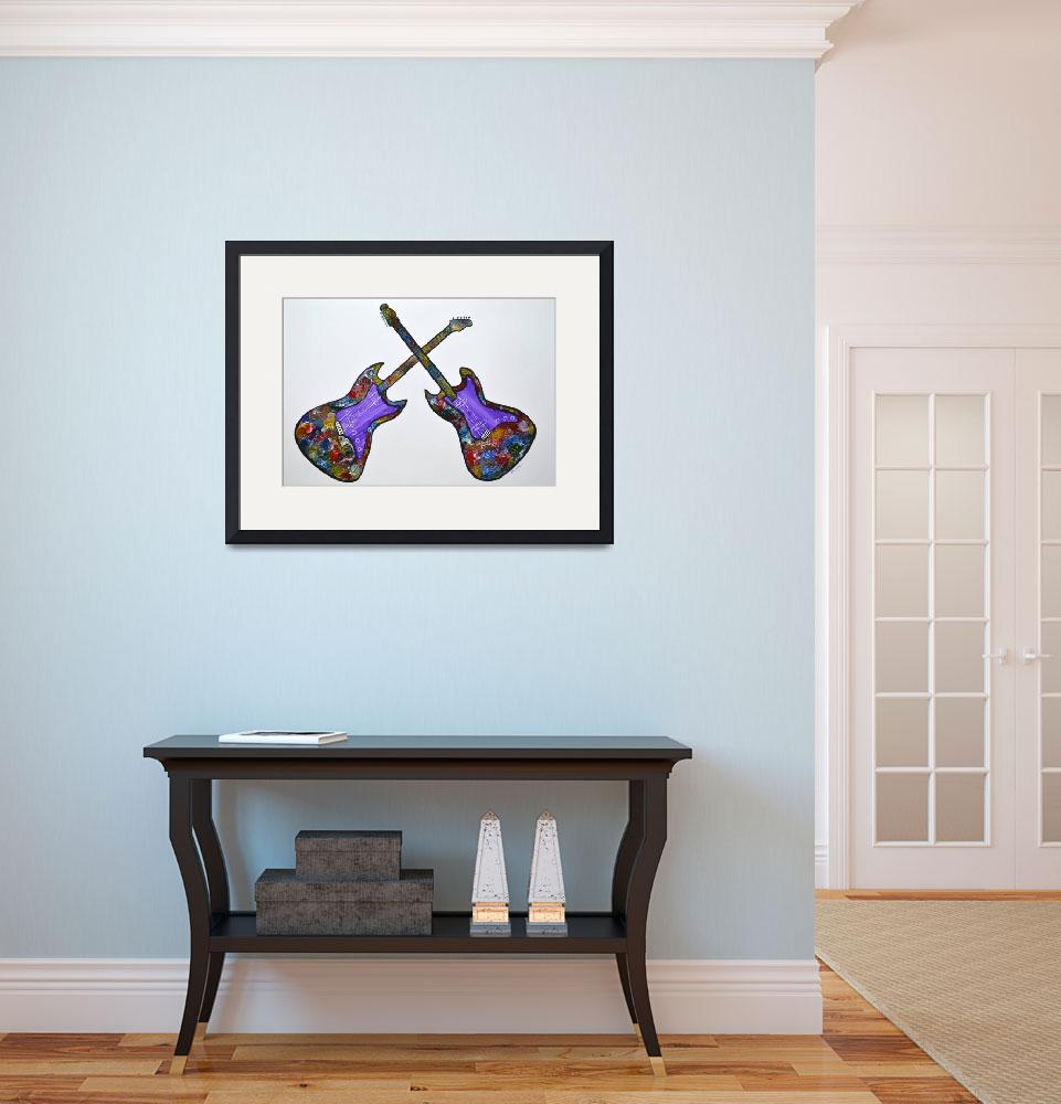 """Original Guitars abstract painting wall decor pop""  (2015) by mkanvinde"
