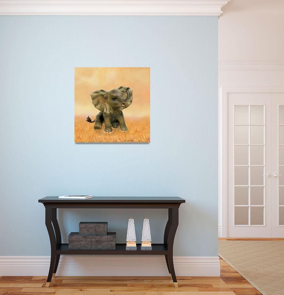 """""""BEAUTIFUL AFRICAN BABY ELEPHANT&quot  (2016) by HolbrookArt"""