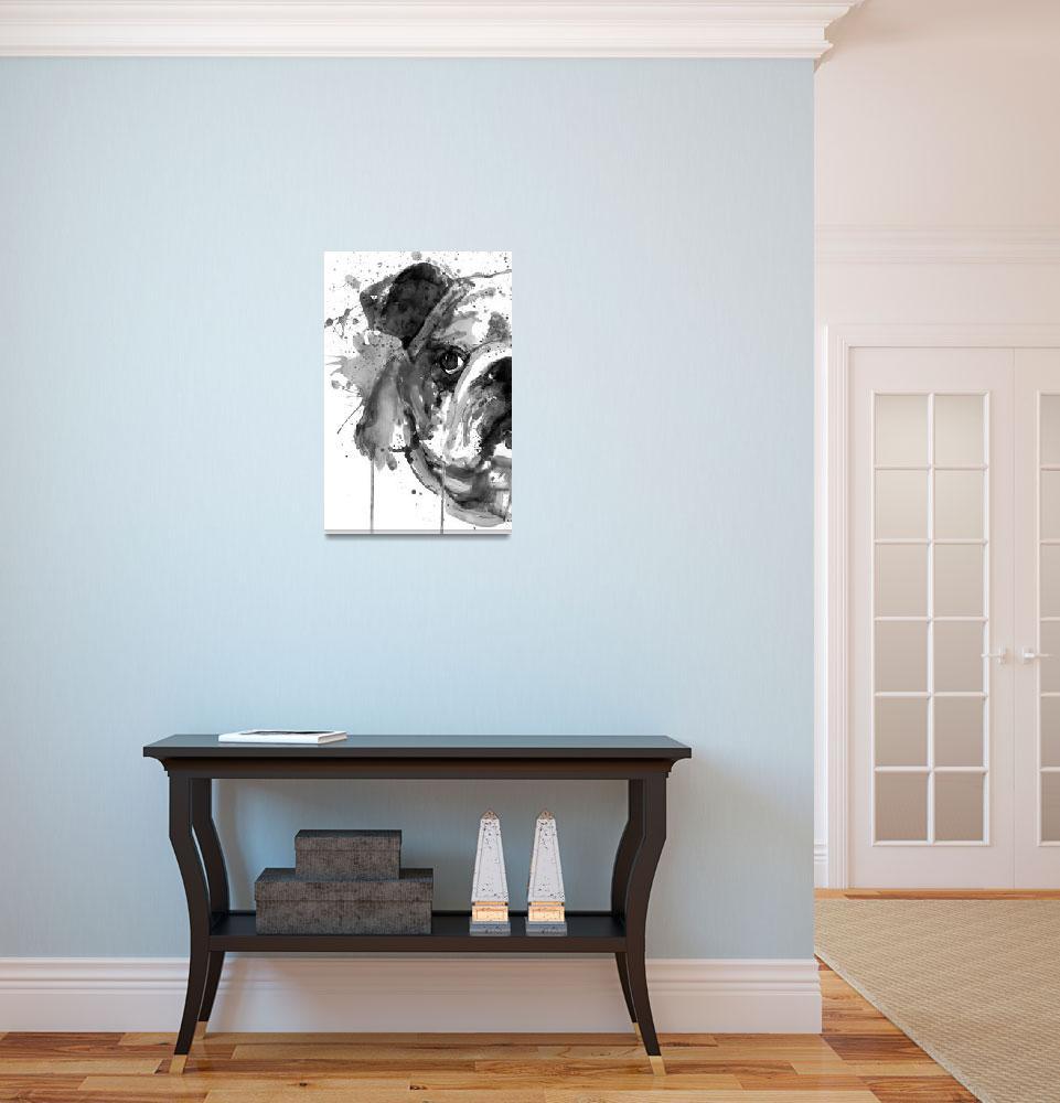 """Black And White Half Faced English Bulldog""  (2019) by MarianVoicu"