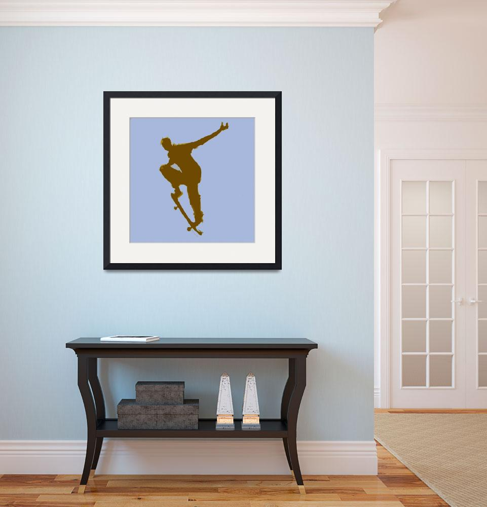"""Skateboarder 1 . blue brown (c)&quot  (2014) by edmarion"