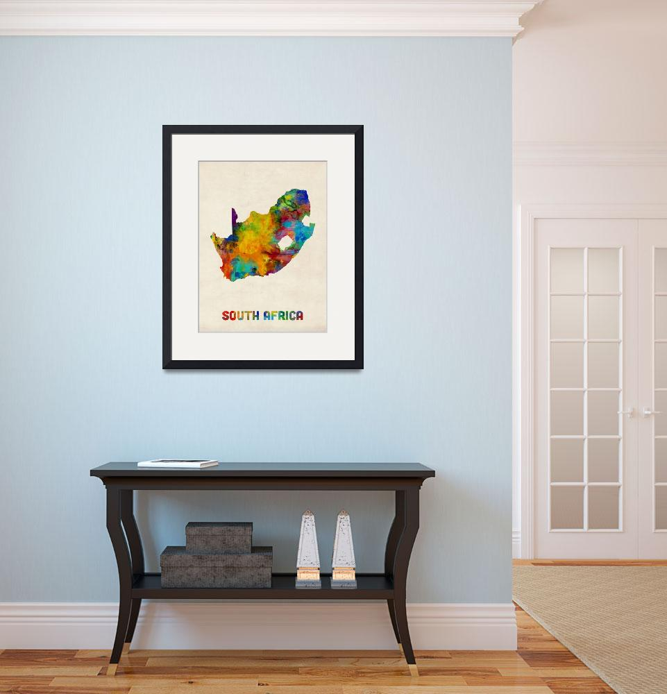 """""""South Africa Watercolor Map""""  (2016) by ModernArtPrints"""