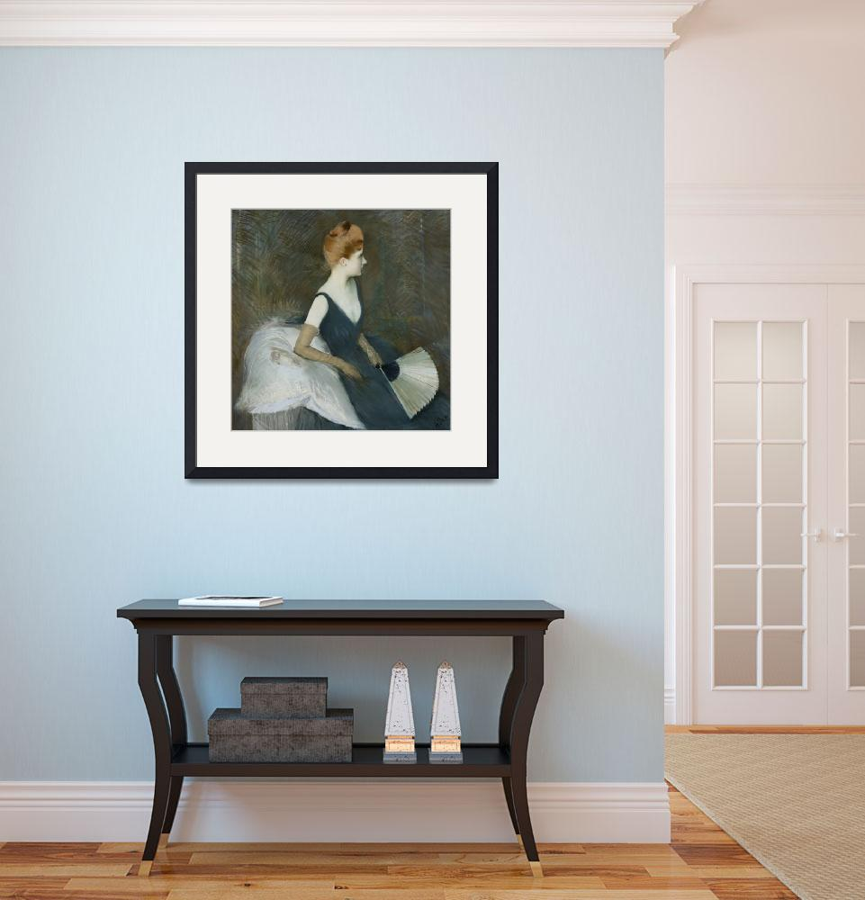 """""""Madame Marthe Letellier Sitting on a Sofa, Holdin&quot  by fineartmasters"""
