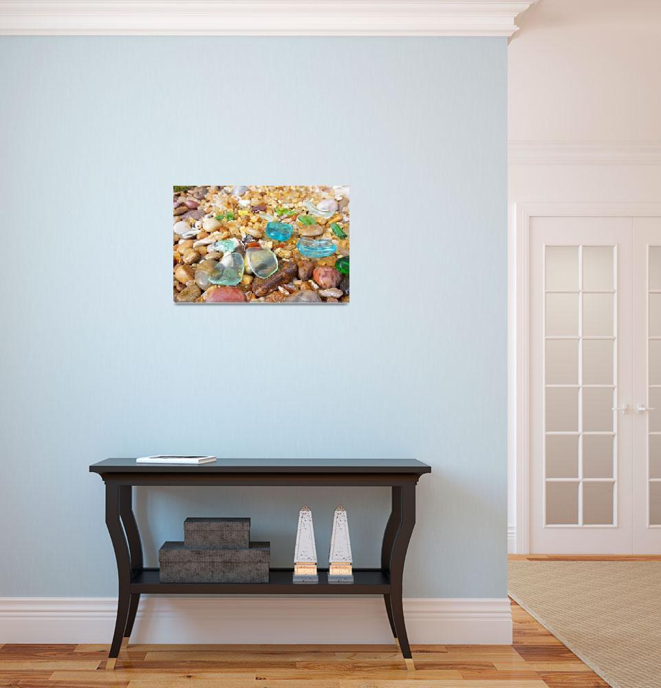 """Seaglass Art Prints Blue Sea Glass Coastal Beach A""  (2014) by BasleeTroutman"