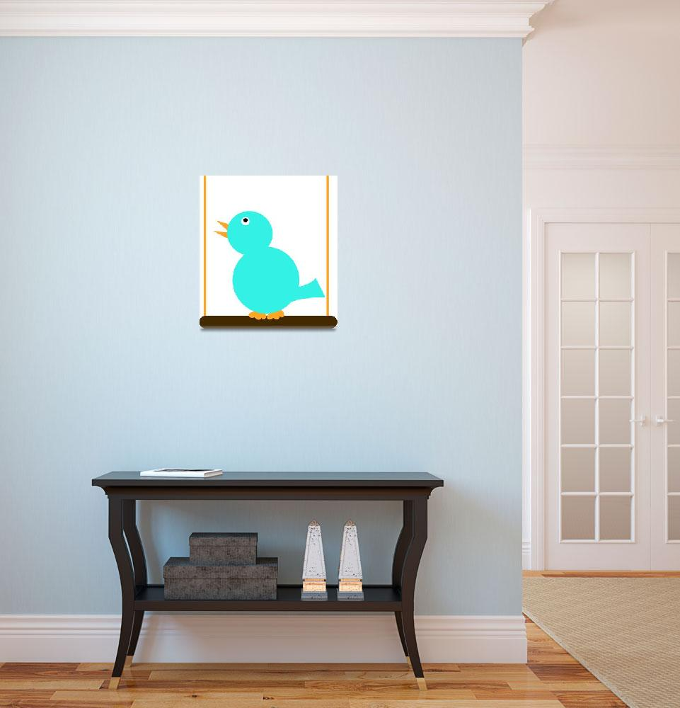 """""""Blue Bird on a Perch&quot  (2010) by ValeriesGallery"""
