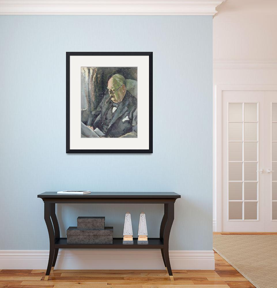 """""""Portrait of Sir Winston Churchill (1874-1965)&quot  by fineartmasters"""