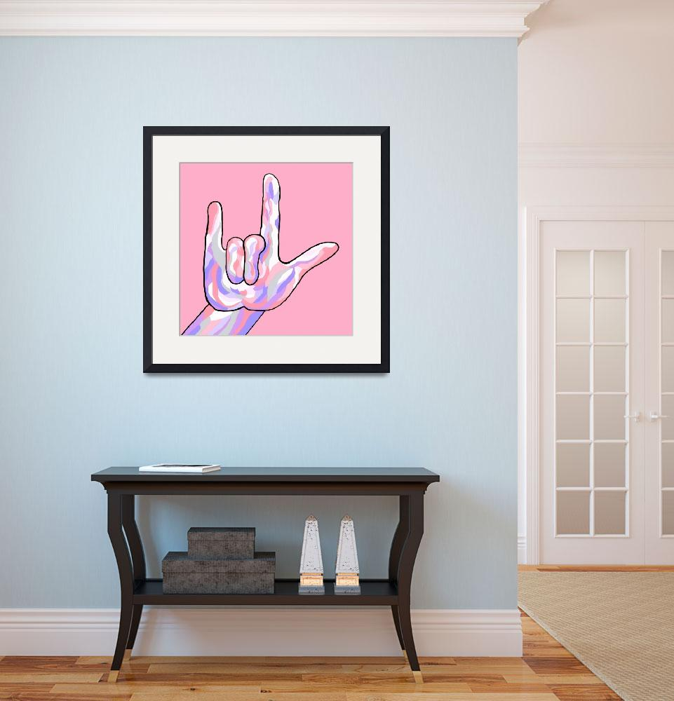 """""""ASL I Love You Baby Pink&quot  by EloiseArt"""