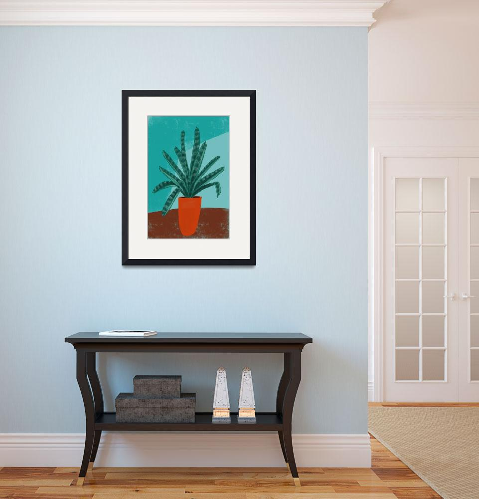 """Bontaical: Bromeliad in Orange Pot""  (2017) by pfleghaar"