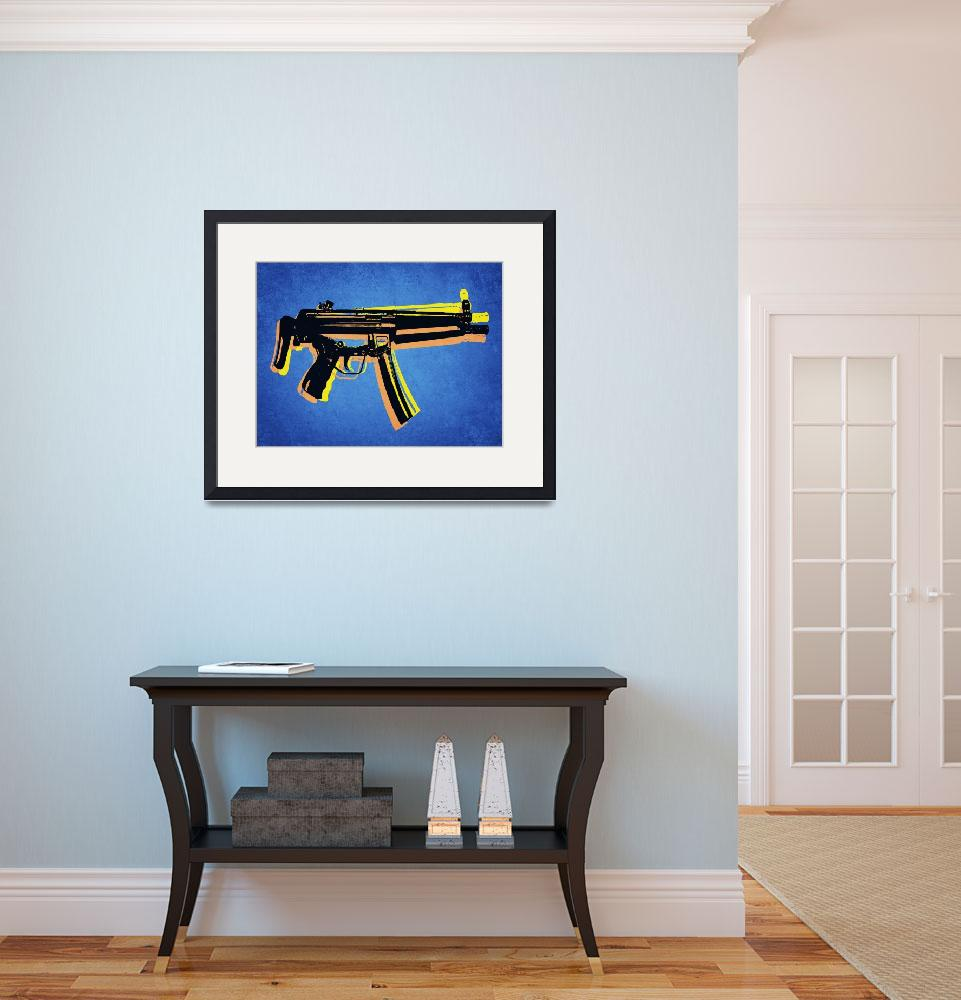 """MP5 Sub Machine Gun on Blue&quot  (2010) by ModernArtPrints"