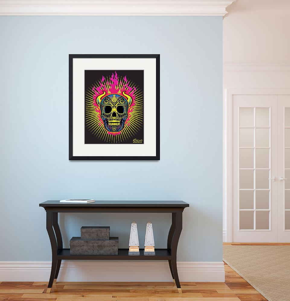 """""""Flaming Skull&quot  (2013) by RubinoFineArt"""