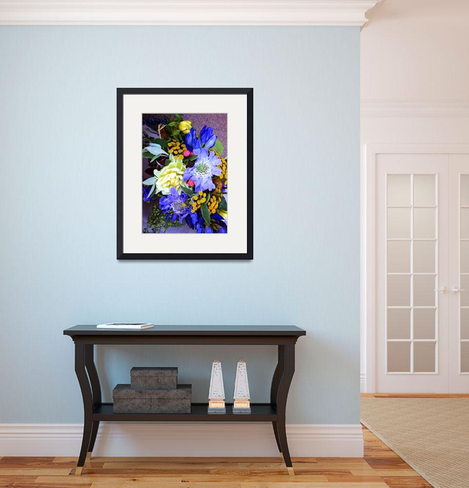 """""""Tropical Bouquet in Blues&quot  (2016) by LynnBauer"""