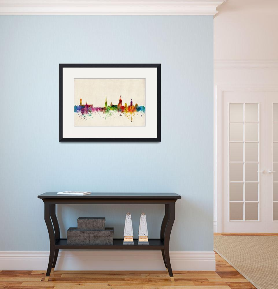 """Stockholm Sweden Skyline&quot  by ModernArtPrints"
