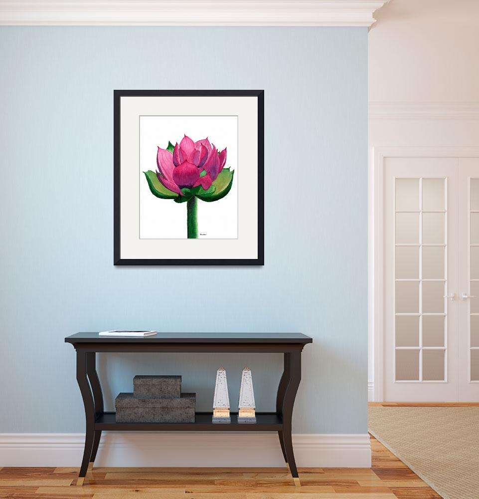 """""""Red and Pink Lotus Floral Watercolor Painting 619&quot  (2017) by Ricardos"""