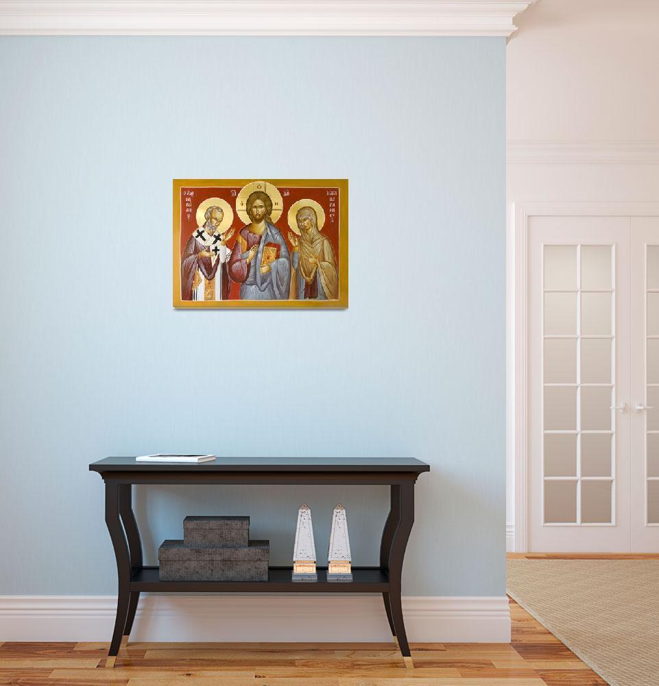 """Deisis: Christ, St Nicholas & St Paraskevi""  (2014) by ikonographics"