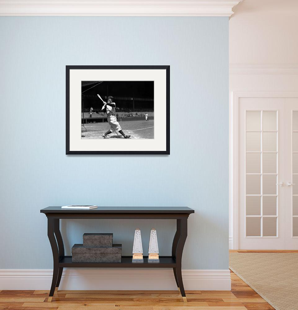 """""""Lou Gehrig driving the ball deep&quot  by RetroImagesArchive"""