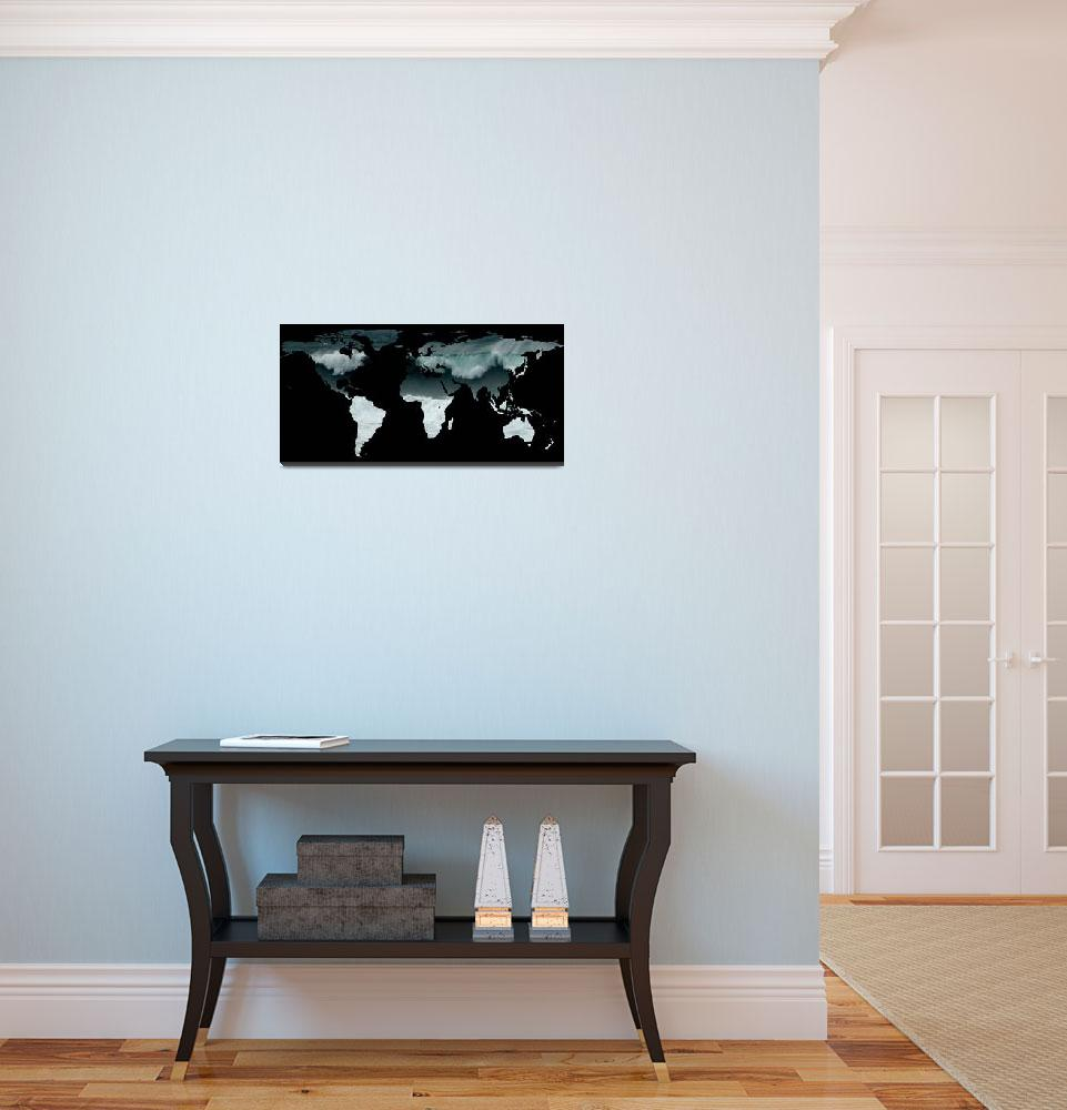 """World Map Silhouette - Crashing Waves&quot  by Alleycatshirts"