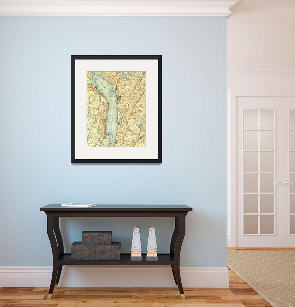 """Vintage Map of Tarrytown NY & The Hudson River&quot  by Alleycatshirts"