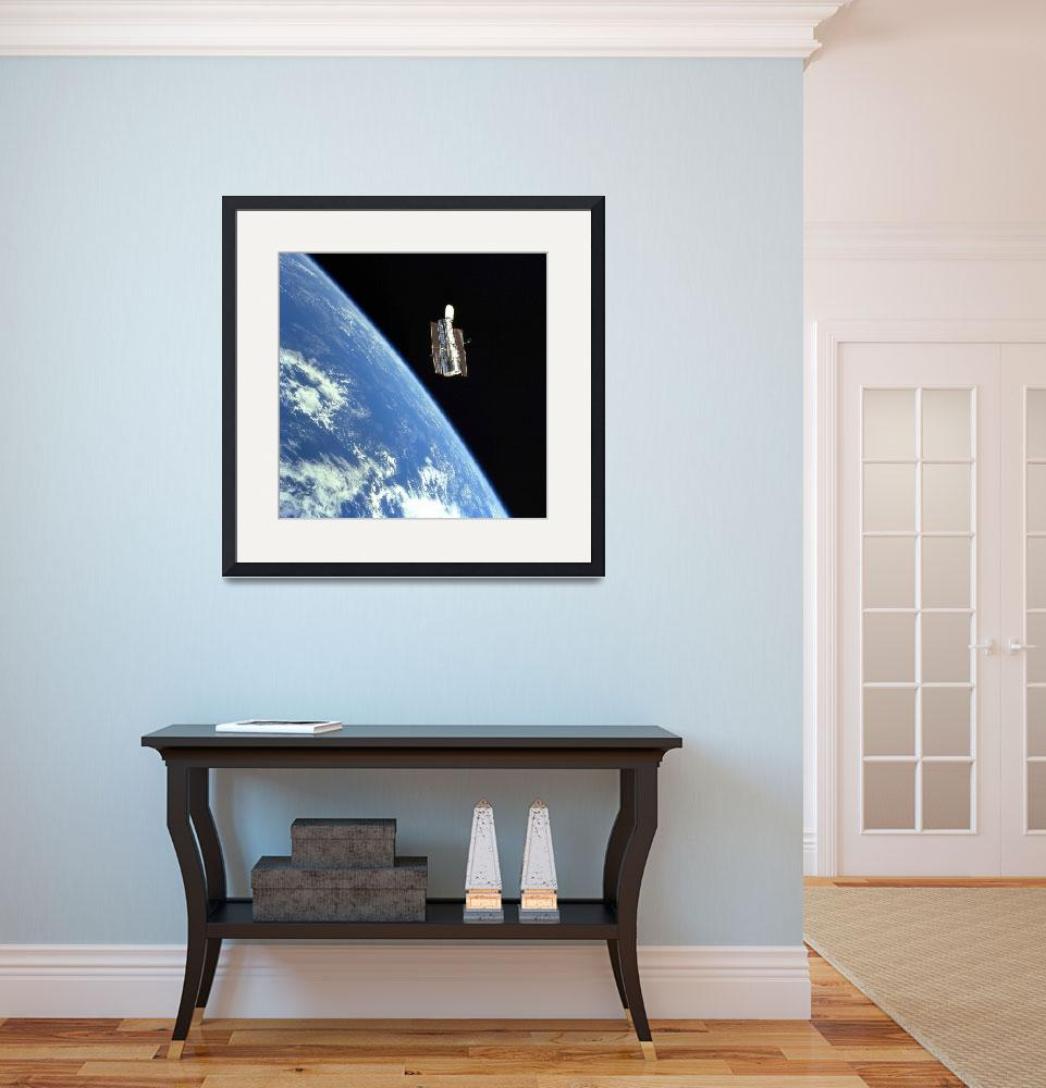 """The Hubble Space Telescope with a blue earth in th&quot  by stocktrekimages"