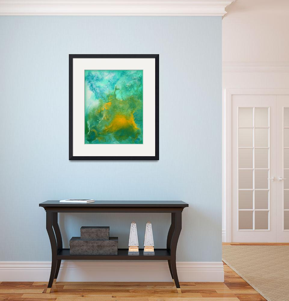 """""""Teal Fluid Abstract Painting&quot  (2014) by LizMoran"""