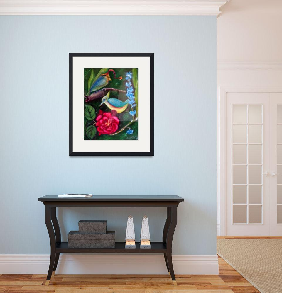 """""""Blue bird and red flower&quot  (1998) by Dorli"""