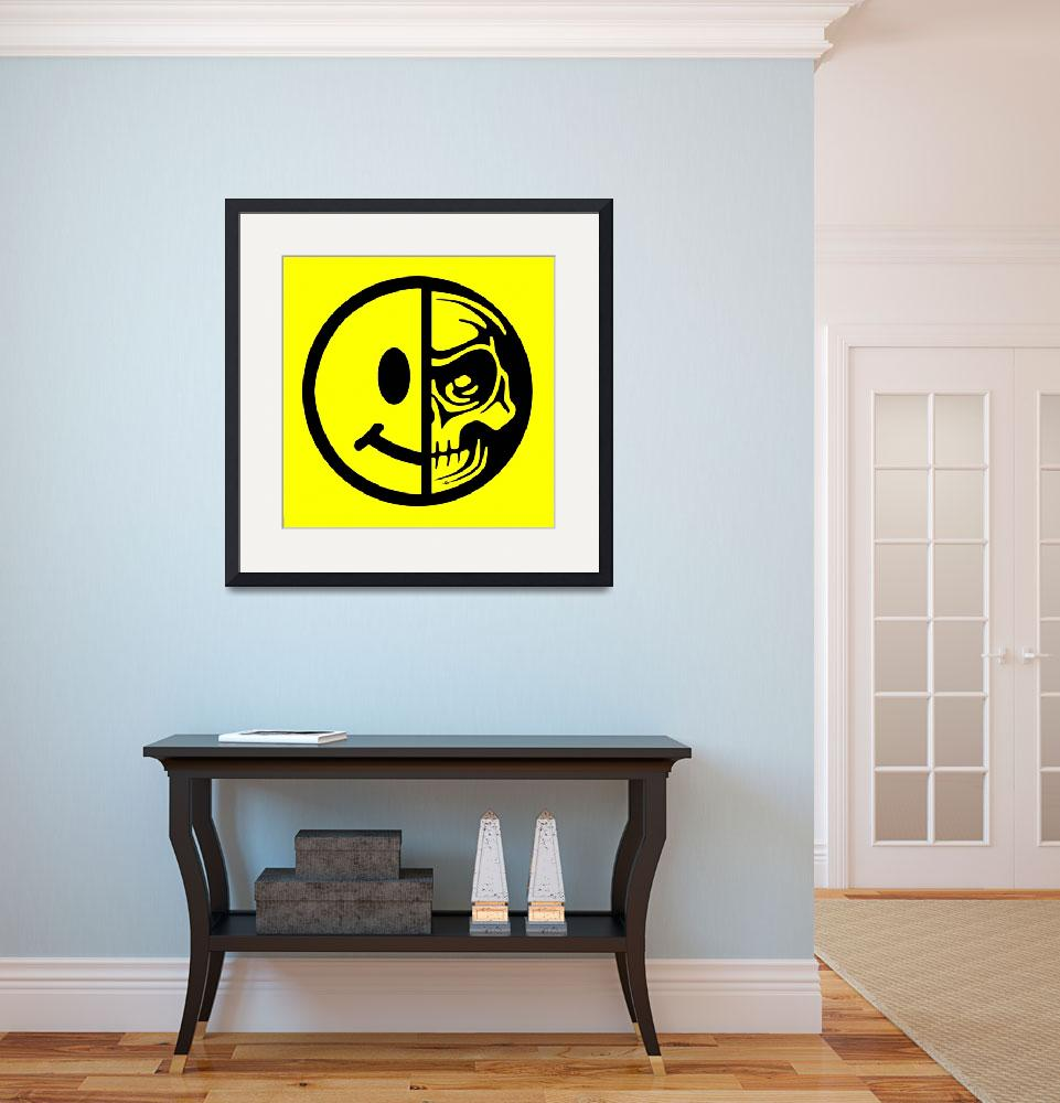 """""""Smiley Face Skull Yellow&quot  (2018) by RubinoFineArt"""