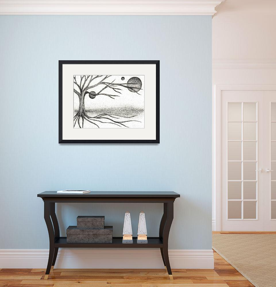 """""""Pen & Ink Ilustration By Boug Ashby. Tree & Moons&quot  (2011) by drawingwithdots"""