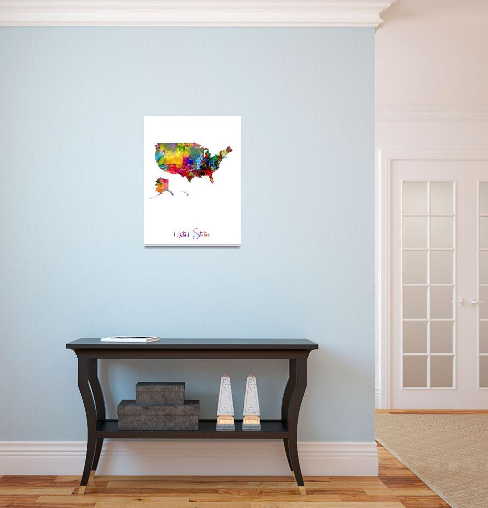 """United States Watercolor Map""  (2016) by ModernArtPrints"