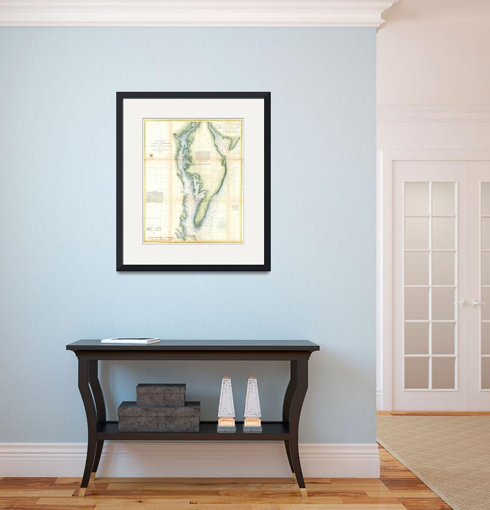 """""""Vintage Chesapeake Bay Map&quot  (1947) by Alleycatshirts"""