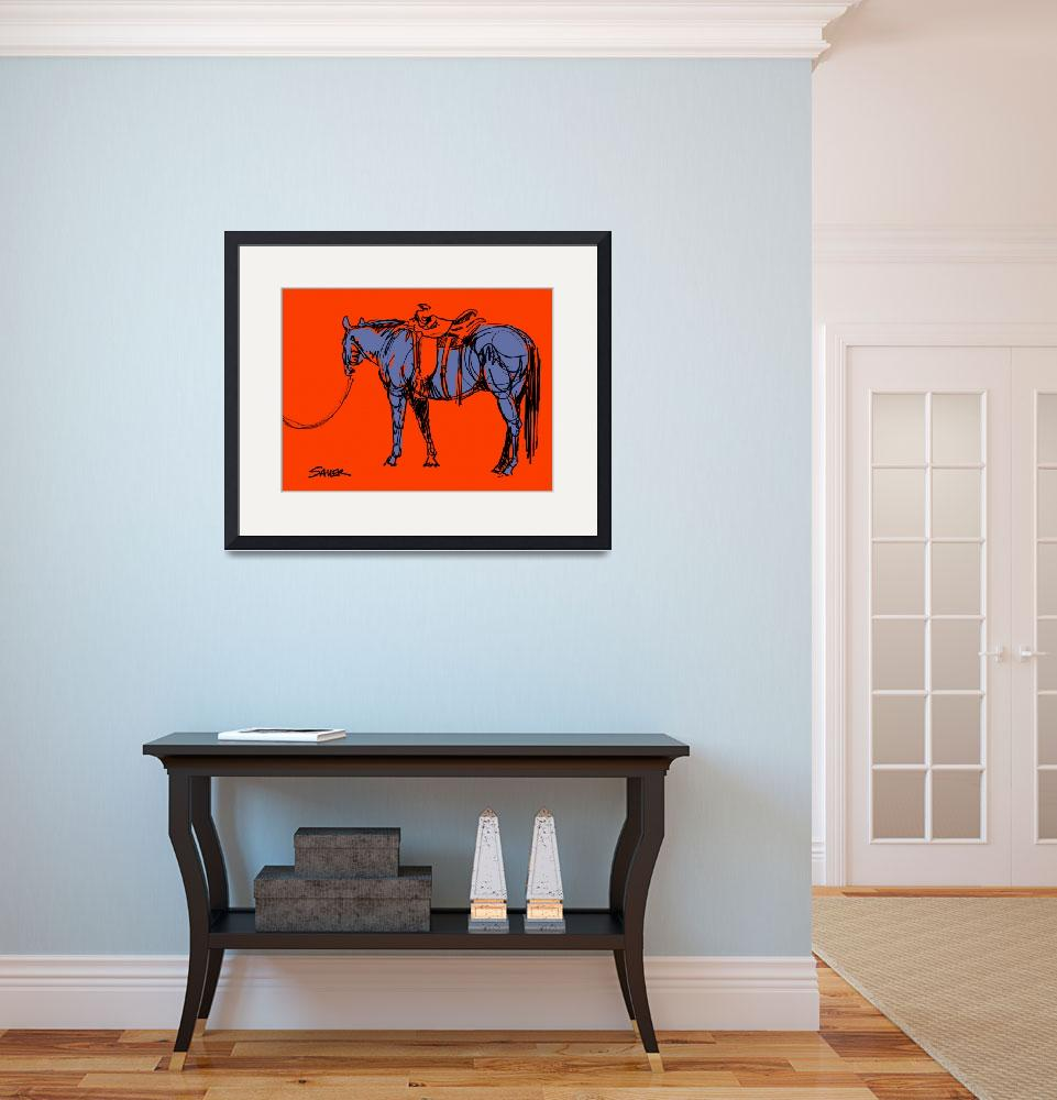 """""""I Caught A Good One (Orange/Periwinkle)""""  (2013) by JenSauerArt"""