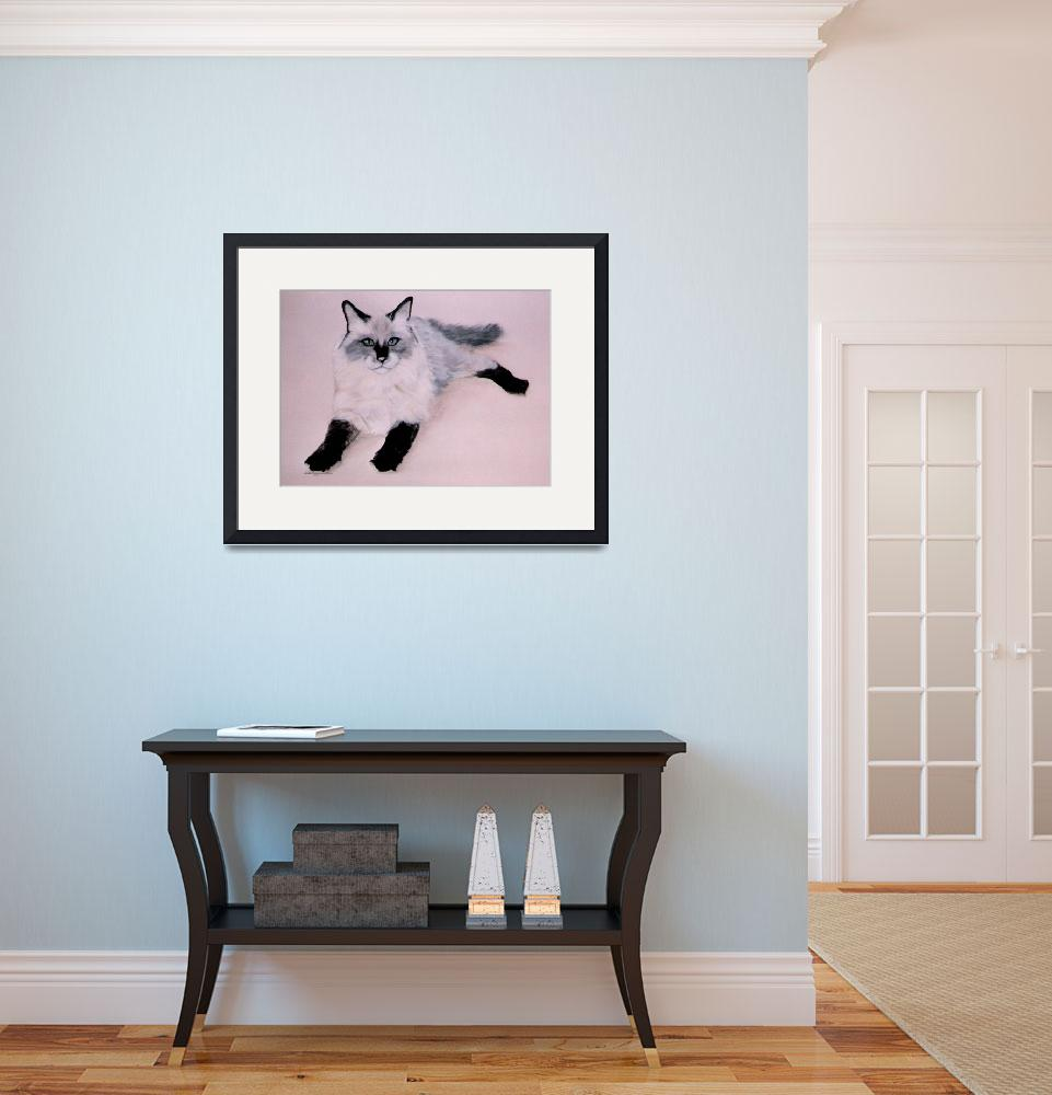 """""""Black Stalkings cat painting&quot  by AnimalsbyDiDi"""