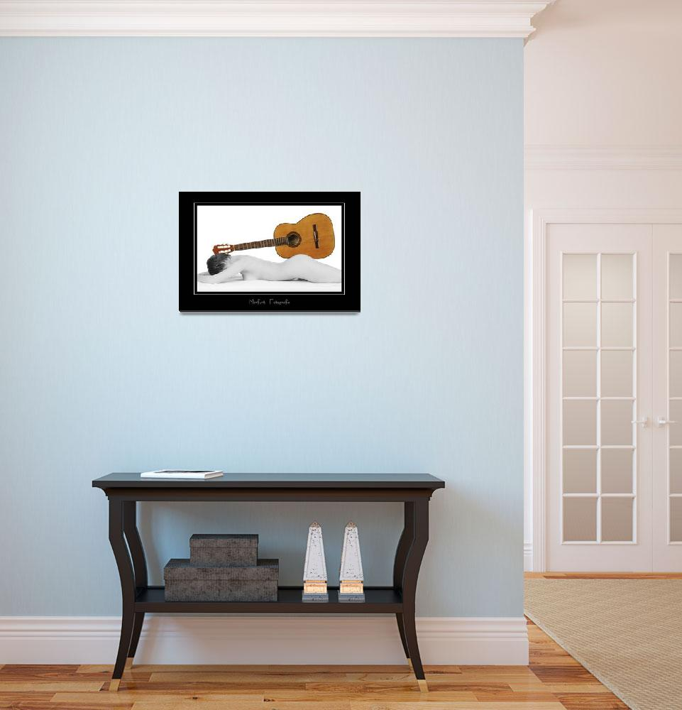 """""""female nude used as a wooden guitar stand""""  (2010) by baechlergallery"""