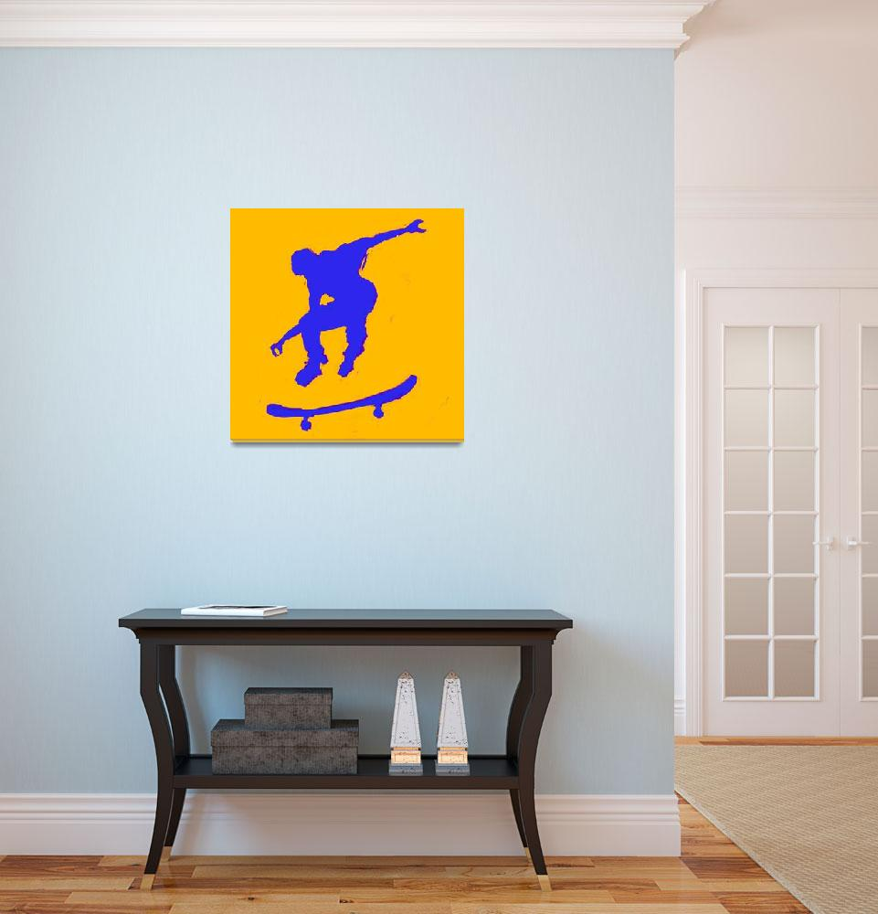 """Skateboarder 3 . orange blue (c)&quot  (2014) by edmarion"