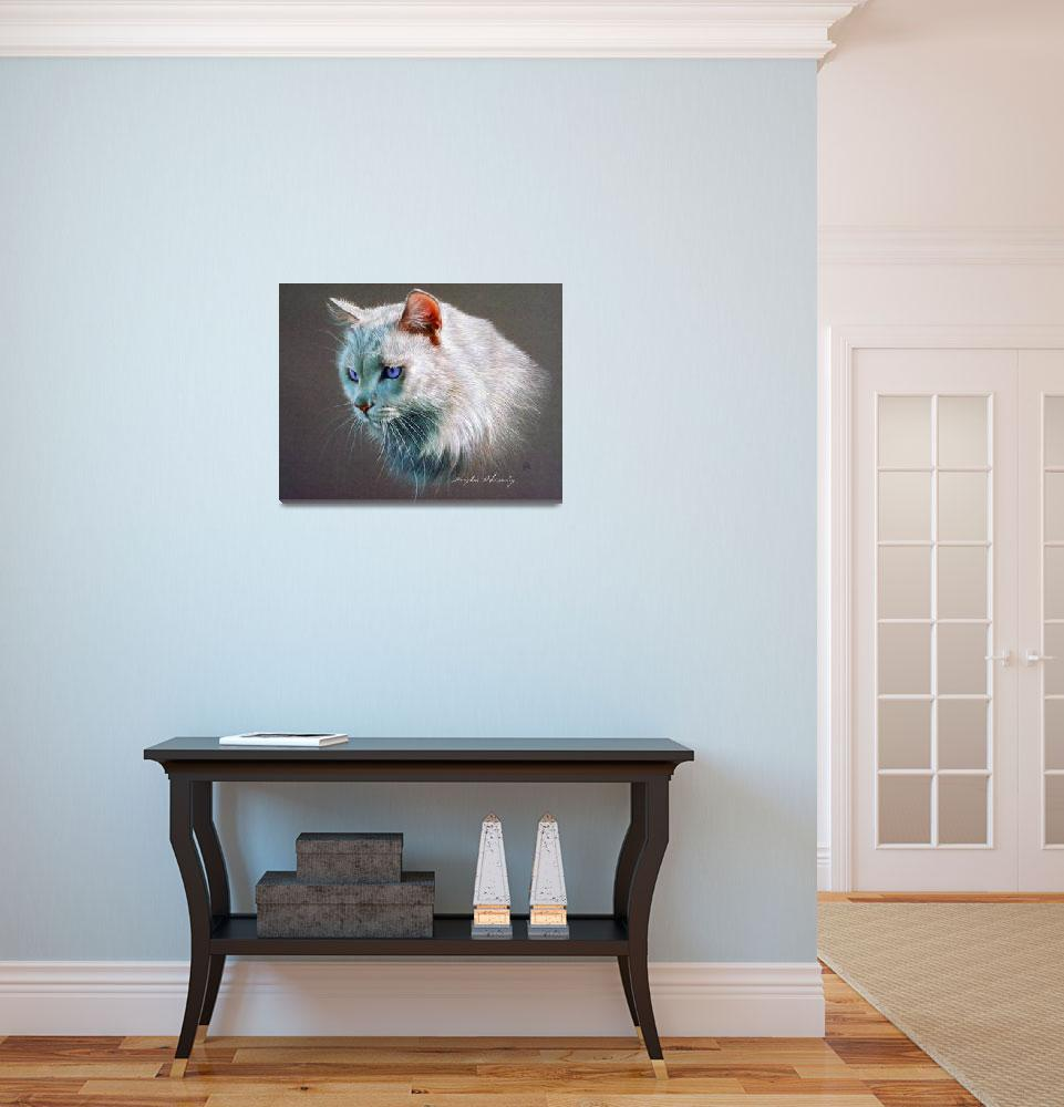 """Fluffy Pet Cat&quot  by ArtLoversOnline"