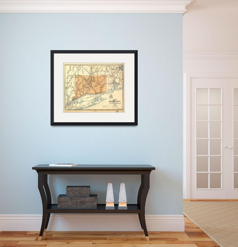 """""""Vintage Connecticut Railroad Map (1893)""""  by Alleycatshirts"""